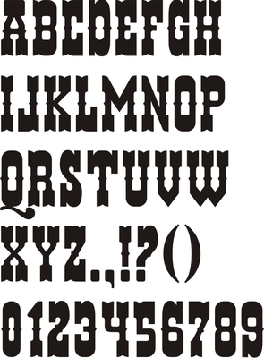 "Wanted Poster Alphabet 3"" Uppercase Stencil Set | 295 x 400 jpeg 85kB"