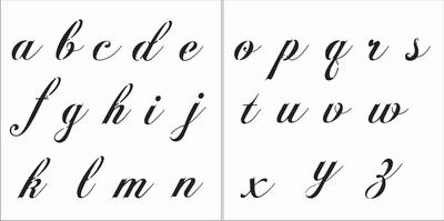 Fancy Script Alphabet 3 Lowercase Stencil Set