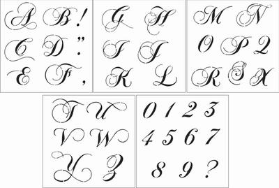 Fancy Script Alphabet 4 Uppercase Stencil Set