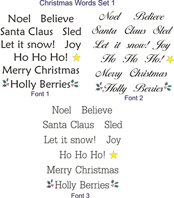 1 tall christmas words on a 12 x 12 stencil sheet set