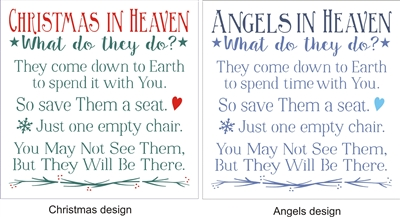 Christmas In Heaven Chair.Christmas Or Angels Or Holidays In Heaven What Do They Do 11 5 X 11 5 Stencil