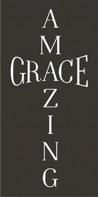 Amazing Grace In Cross Shape Two Size Choices Stencil